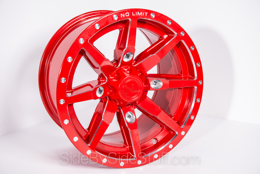 No Limit Wheels - Octane - Red with tracer style and bullet edge.
