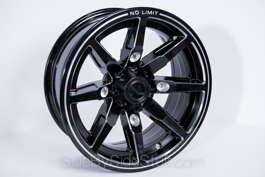 No Limit Wheels - Octane - Black with tracer style and line edge.