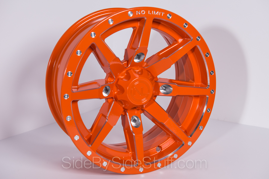 No Limit Wheels - Octane - Orange with tracer style and bullet edge.
