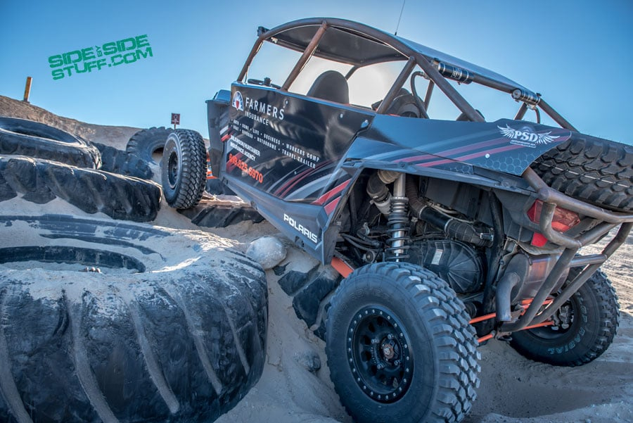 Attempting to navigate the tire hill at Ocotillo Wells 4x4 trailing facility.