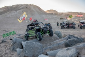 A fellow UTV enthusiast attempting one of the 22 obstacles at Ocotillo Wells 4x4 training facility.