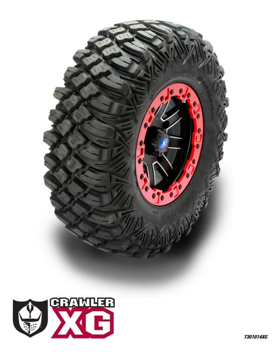 "The 8 ply Crawler XG is a great all-around tire but was designed to excel when used in either rock crawling or other extremely rocky terrain. The long lasting tread has a tread pattern that has some of the best grip on the market and was designed to be as puncture resistant as Pro Armor could make it. The 30-10-14 tire, currently the only size, has a tread depth of 0.78"" and weighs 39 pounds."