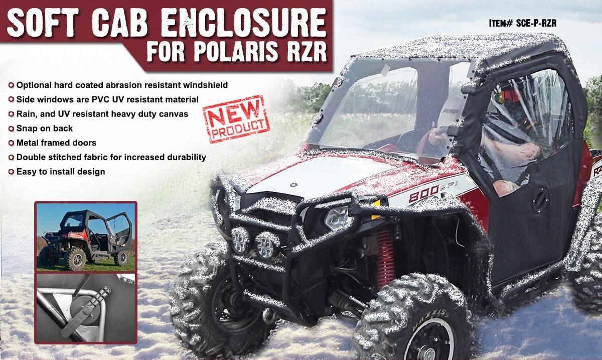 Polaris RZR Soft Cab Enclosure w/ Hinged Doors by Super ATV