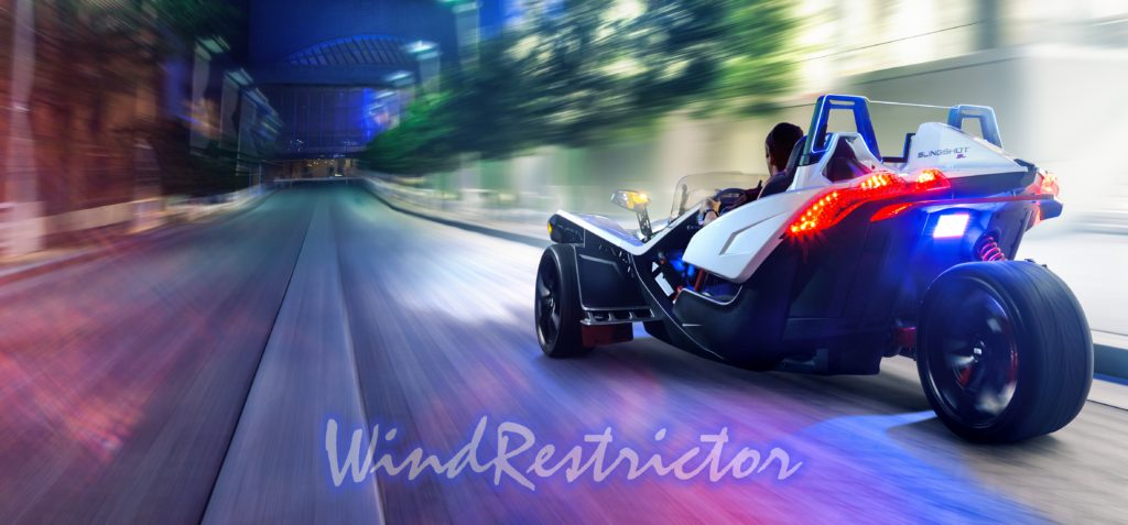 The Wind Deflector by Wind Restrictor for the Polaris Slingshot